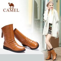 駱駝女鞋 秋冬真皮加絨中筒靴休閑舒適圓頭后拉鏈中跟靴