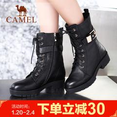 camel骆驼女靴简约牛皮中筒靴冬季保暖马丁靴