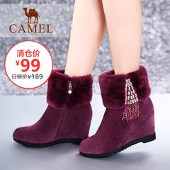 【特价清仓】camel骆驼女靴休闲短靴毛靴潮流保暖棉鞋皮靴女鞋