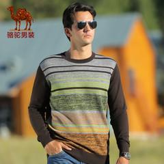Camel/骆驼男装 秋季潮流针织衫男士圆领条纹毛衣 男款套头毛衣