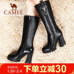 camel骆驼女靴牛皮粗跟高跟防水台骑士靴长靴潮靴
