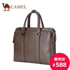 Camel/骆驼男士真皮手提包横款商务男包头层牛皮斜跨公文包电脑包
