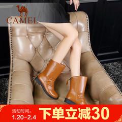 Camel骆驼女靴冬季女鞋素雅女靴加绒中跟后拉链中筒靴休闲女靴子