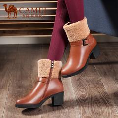 camel骆驼女鞋 秋冬牛皮女靴侧拉链真皮中筒靴高跟