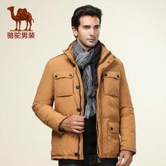 骆驼 男休闲双层领羽绒服纯色中长款男款保暖羽绒衣 外套