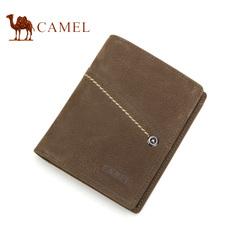 Camel骆驼钱包 头层牛皮 男士竖款钱夹 男士短款票夹