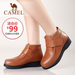 【清仓特价】Camel 骆驼女靴短靴坡跟简约女短筒棉鞋皮靴短靴