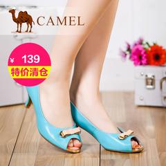 【特价清仓】camel骆驼女鞋   浅口蝴蝶结鱼嘴时尚舒适高跟女单鞋