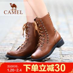 camel 骆驼女靴中跟靴女士马丁靴铆钉系带中筒靴