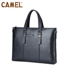 camel骆驼男包牛皮手提包男公文包商务休闲横款手提包MB157024-03