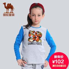 骆驼童装 户外儿童卫衣 男女童舒适时尚拼接长袖圆领套头休闲衣