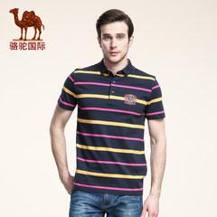骆驼新款男士衬衫领短袖T恤时尚商务休闲条纹polo衫