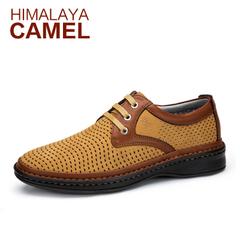 喜马拉雅骆驼男鞋 春季新款英伦男士真皮透气镂空休闲皮鞋潮