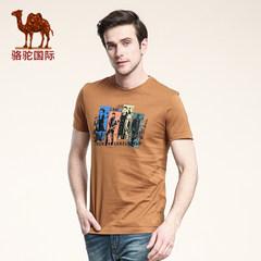 骆驼夏款新款男士短袖印花T恤休闲圆领t恤棉质T恤