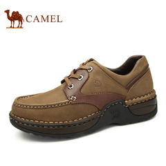 骆驼男鞋 春夏新款 磨砂真皮男士休闲皮鞋圆头系带厚底男鞋子