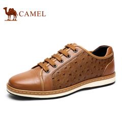 Camel 骆驼男鞋 英伦风日常休闲皮鞋耐磨男鞋休闲鞋系带低帮鞋男