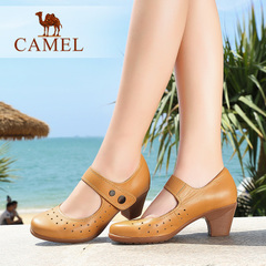 Camel骆驼女鞋 舒适圆头粗跟镂空水染牛皮腕带魔术贴休闲单鞋女