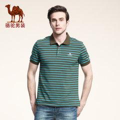 Camel/骆驼男装 男士商务休闲翻领宽松短袖T恤 夏季polo款式条纹