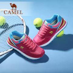 Camel骆驼女鞋 反绒皮拼接网布绑带运动风休闲鞋跑鞋平跟休闲鞋女
