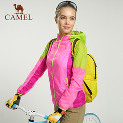 CAMEL骆驼户外女款皮肤衣 春夏款连帽遮阳拼色皮肤风衣