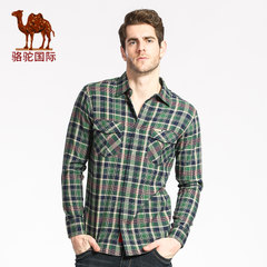 骆驼秋装青年格子衬衣长袖尖领修身衬衫休闲长袖衬衣