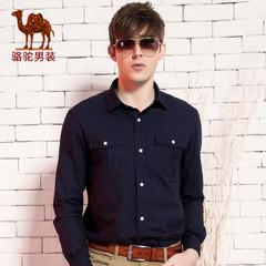 Camel骆驼男装 春季新款格子衫 纯棉尖领时尚休闲长袖衬衫