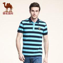 骆驼t恤夏季纯棉polo衫商务休闲大码宽松翻领条纹短袖T恤