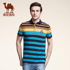 春季新款骆驼青年短袖T男士时尚夏季条纹休闲t恤