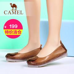 【特价清仓】Camel骆驼女鞋夏季新款日常休闲舒适牛皮平底单鞋