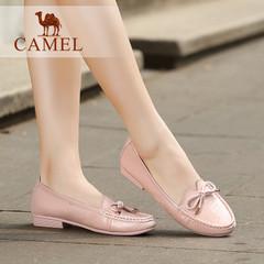 Camel/骆驼女鞋 休闲舒适 珠光牛皮/石头纹牛漆皮蝴蝶结女单鞋