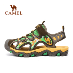CAMEL骆驼户外儿童款沙滩鞋 青少年防撞防滑魔术贴沙滩凉鞋