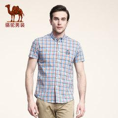 骆驼男装 夏季男士短袖衬衫 时尚格子衬衣 男款短袖纯棉寸衫 潮男