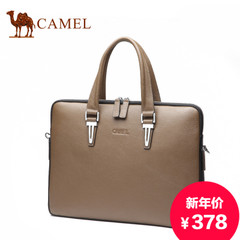 Camel/骆驼新款男手提包商务休闲头层牛皮男包横款皮单肩斜挎包