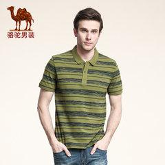 骆驼 新款男士短袖T恤 夏款日常休闲条纹修身t恤