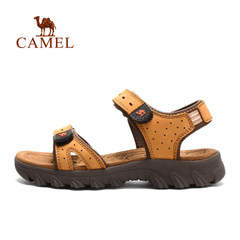 CAMEL骆驼户外女款沙滩凉鞋 春夏耐磨防泼水牛皮魔术贴沙滩鞋