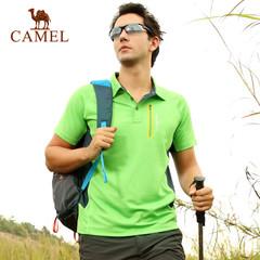 CAMEL骆驼户外男款速干翻领短袖T恤 2015年春夏男士快干T恤 正品
