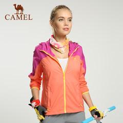 CAMEL骆驼户外女款皮肤风衣 春夏女式拼色透气连帽皮肤衣