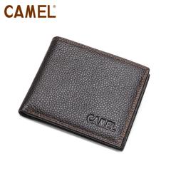 camel駱駝 錢包 兩折短款男錢包 荔枝紋牛皮 MC103050-01