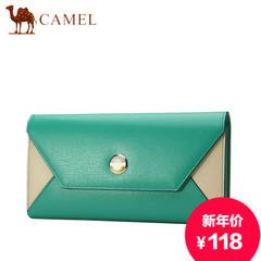 Camel/骆驼横款女包包女士休闲牛皮手拿包撞色信封包大容量手机包