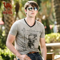 骆驼 夏季新款男士短袖T恤 V领修身款t恤男T恤