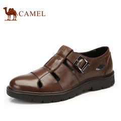 骆驼男鞋 春季新款 热销正品扣搭头层牛皮镂空皮鞋透气男鞋