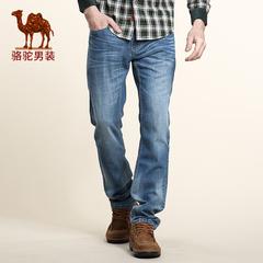 Camel/骆驼男装 秋季牛仔裤 男士休闲中腰直筒薄款长裤
