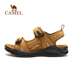 【断码清仓】CAMEL骆驼户外女款沙滩凉鞋 魔术贴牛皮涉水凉鞋