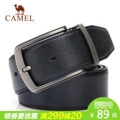 Camel骆驼男士牛皮皮带商务时尚针扣腰带男百搭青年裤带平滑扣潮