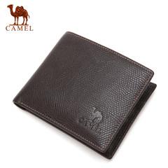 Camel骆驼男士真皮钱包商务短款牛皮皮夹男薄款青年横款软皮夹潮