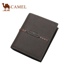 camel骆驼钱包 男士牛皮钱夹 短款钱包 荔枝纹钱包大钞夹票夹男