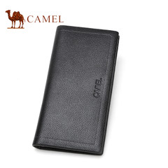 【清仓】Camel骆驼男士长款钱包牛皮休闲钱夹荔枝纹竖款皮夹