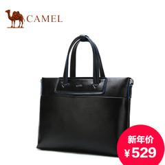 骆驼新款男士真皮手提包休闲商务男包单肩牛皮包办公包时尚横款