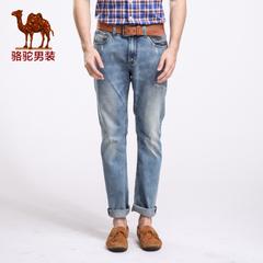Camel/骆驼男装秋季新款牛仔长裤 男士韩版休闲直筒牛仔裤 潮