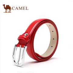 Camel骆驼女士皮带针扣 女款细腰带百搭牛皮裤带  皮款压花腰带女